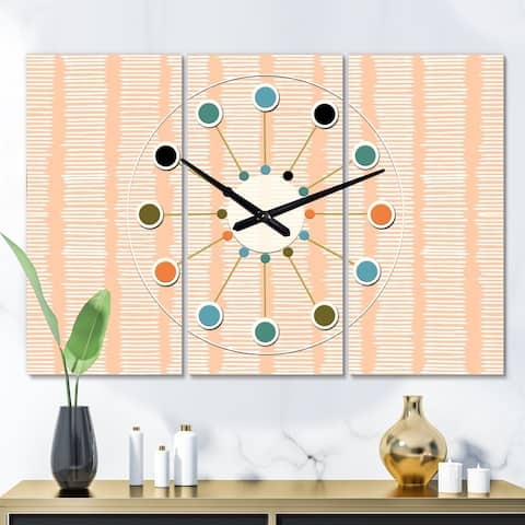 Designart 'Retro Abstract Lines Pattern' Oversized Mid-Century wall clock - 3 Panels - 36 in. wide x 28 in. high - 3 Panels