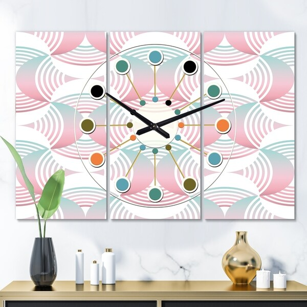 Designart 'Retro Geometrical Abstract Pattern I' Oversized Mid-Century wall clock - 3 Panels
