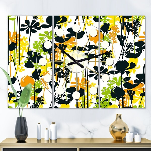 Designart 'Summer meadow pattern, black silhouettes' Oversized Mid-Century wall clock - 3 Panels