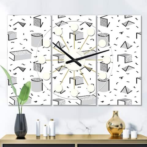 Designart 'Geometric Retro Design IV' Oversized Mid-Century wall clock - 3 Panels - 36 in. wide x 28 in. high - 3 Panels