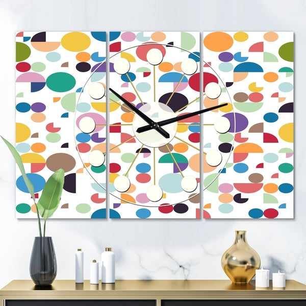 Designart 'Retro Abstract Circular I' Oversized Mid-Century wall clock - 3 Panels - 36 in. wide x 28 in. high - 3 Panels