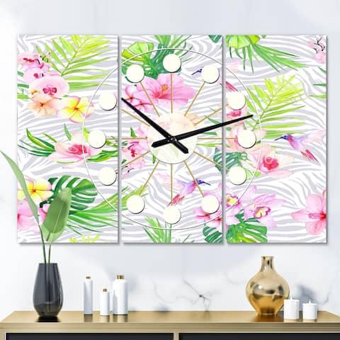 Designart 'Tropical Botanicals and Flowers VI' Oversized Mid-Century wall clock - 3 Panels