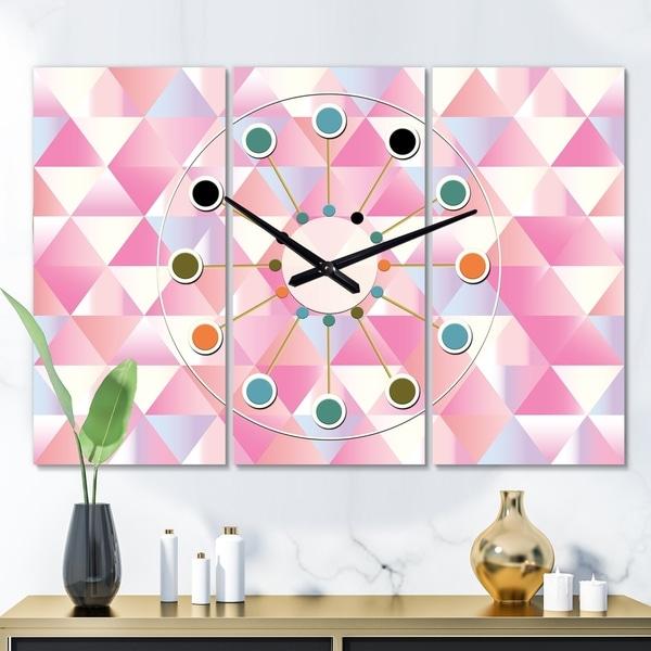 Designart 'Diamond Retro VI' Oversized Mid-Century wall clock - 3 Panels - 36 in. wide x 28 in. high - 3 Panels