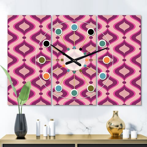 Designart 'Abstract Retro Geometrical Design IV' Oversized Mid-Century wall clock - 3 Panels
