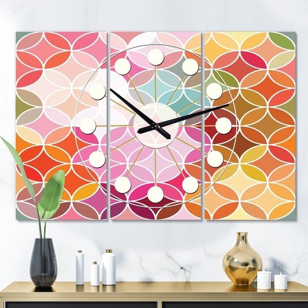 Designart 'Geometrical Retro Design II' Oversized Mid-Century wall clock - 3 Panels - 36 in. wide x 28 in. high - 3 Panels