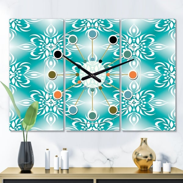 Designart 'Retro Turquoise Pattern' Oversized Mid-Century wall clock - 3 Panels - 36 in. wide x 28 in. high - 3 Panels