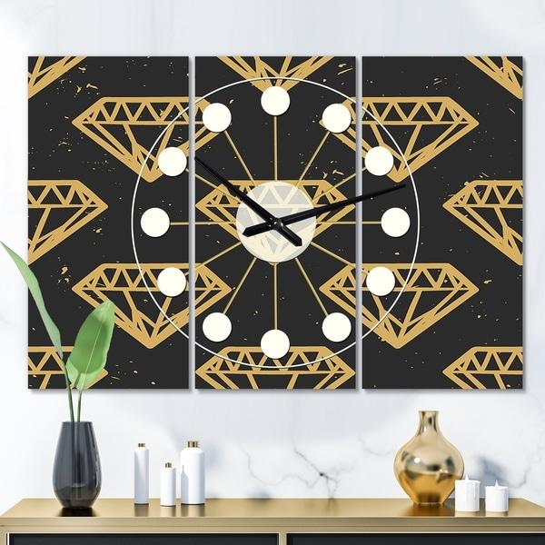 Designart 'Vintage Golden Diamonds' Oversized Mid-Century wall clock - 3 Panels - 36 in. wide x 28 in. high - 3 Panels