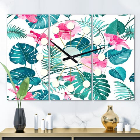 Designart 'Tropical Botanicals and Flowers' Oversized Mid-Century wall clock - 3 Panels - 36 in. wide x 28 in. high - 3 Panels