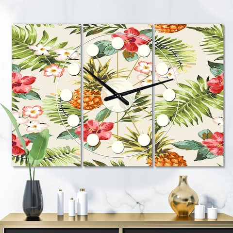 Designart 'Pineapple Summer Bliss IV' Oversized Mid-Century wall clock - 3 Panels - 36 in. wide x 28 in. high - 3 Panels