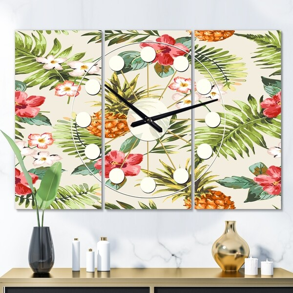 Designart 'Pineapple Summer Bliss IV' Oversized Mid-Century wall clock - 3 Panels - 36 in. wide x 28 in. high - 3 Panels. Opens flyout.