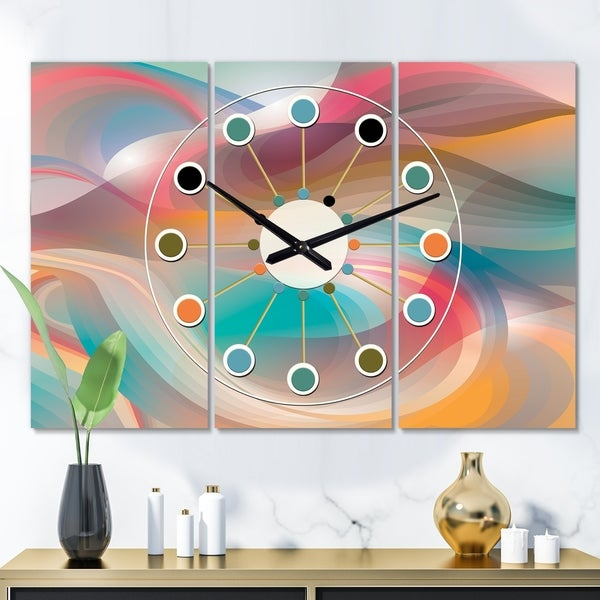 Designart 'Retro Shining Colour Waves' Oversized Mid-Century wall clock - 3 Panels - 36 in. wide x 28 in. high - 3 Panels