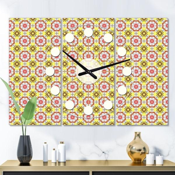 Designart 'Retro Ethnic Abstract Kaleidoscope Design' Oversized Mid-Century wall clock - 3 Panels
