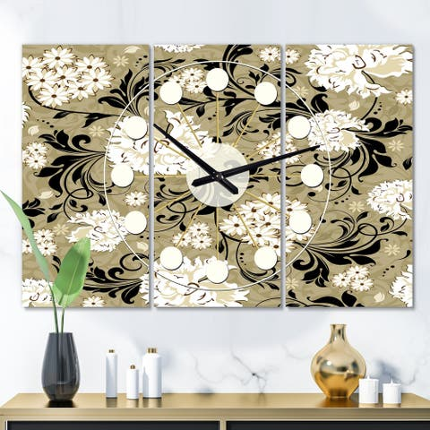 Designart 'Retro Abstract Florals' Oversized Mid-Century wall clock - 3 Panels - 36 in. wide x 28 in. high - 3 Panels