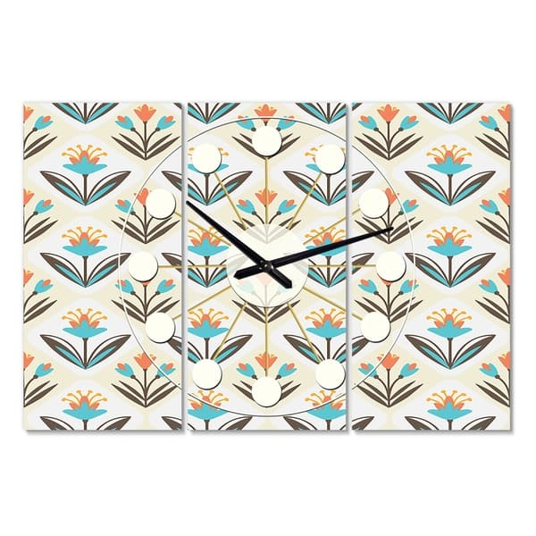 Designart Pattern With Floral Ornament Oversized Mid Century Wall Clock 3 Panels 36 In Wide X 28 In High 3 Panels On Sale Overstock 28735968
