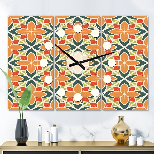 Designart 'Retro Floral Pattern IV' Oversized Mid-Century wall clock - 3 Panels - 36 in. wide x 28 in. high - 3 Panels. Opens flyout.