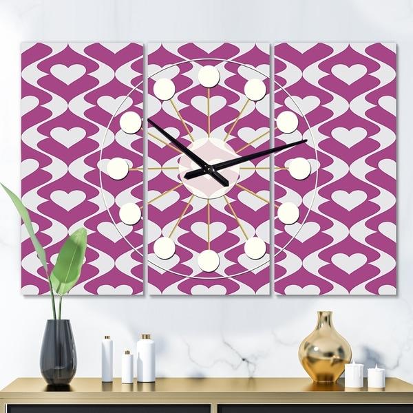 Designart 'Retro Pattern Abstract Design VIII' Oversized Mid-Century wall clock - 3 Panels