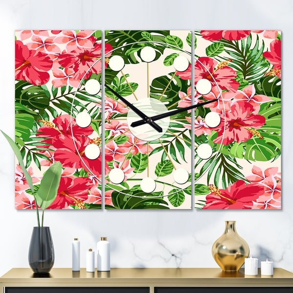 Designart 'Tropical Leaves and Flowers I' Oversized Mid-Century wall clock - 3 Panels - 36 in. wide x 28 in. high - 3 Panels