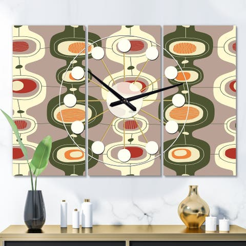 Designart 'Retro Abstract Design X' Oversized Mid-Century wall clock - 3 Panels - 36 in. wide x 28 in. high - 3 Panels