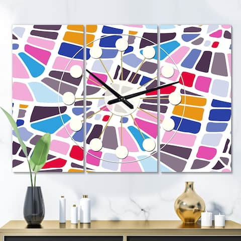 Designart 'Abstract Retro Geometric Pattern I' Oversized Mid-Century wall clock - 3 Panels