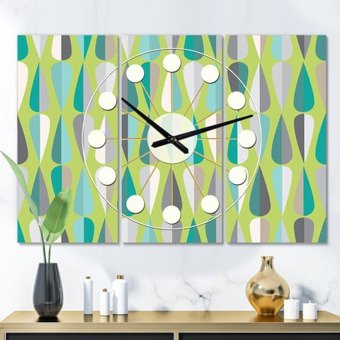 Designart 'Retro Abstract Drops VI' Oversized Mid-Century wall clock - 3 Panels - 36 in. wide x 28 in. high - 3 Panels