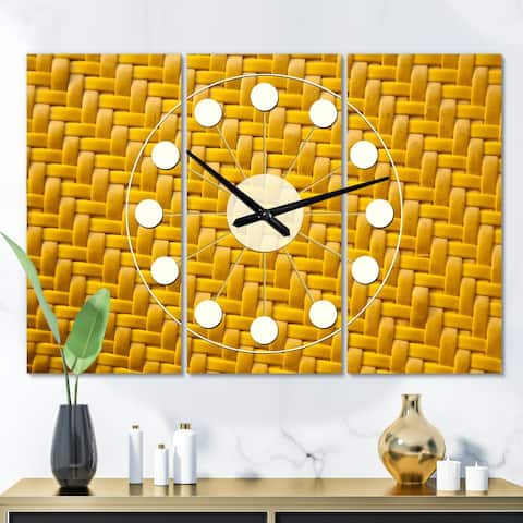 Designart 'Sedge texture background' Oversized Mid-Century wall clock - 3 Panels - 36 in. wide x 28 in. high - 3 Panels