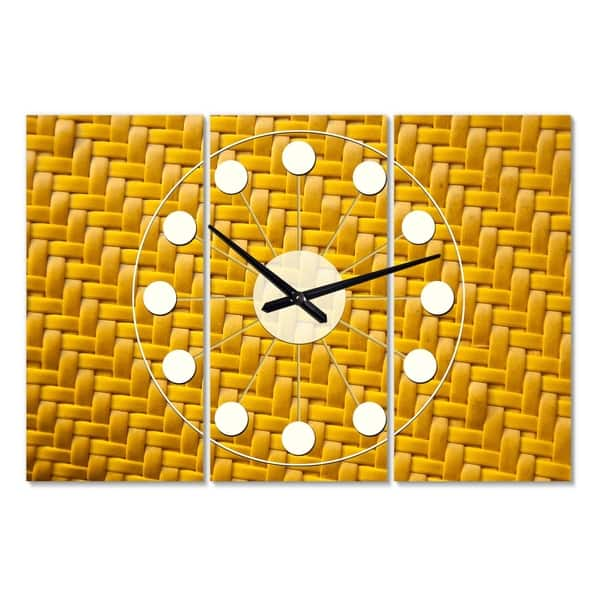 Designart Sedge Texture Background Oversized Mid Century Wall Clock 3 Panels 36 In Wide X 28 In High 3 Panels On Sale Overstock 28735989