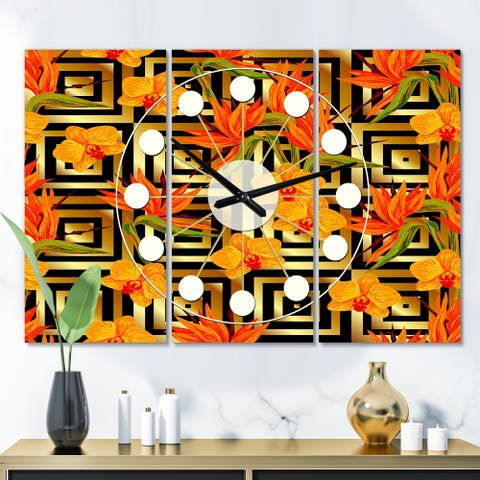 Designart 'Tropical Gold Luxury Pattern III' Oversized Mid-Century wall clock - 3 Panels - 36 in. wide x 28 in. high - 3 Panels