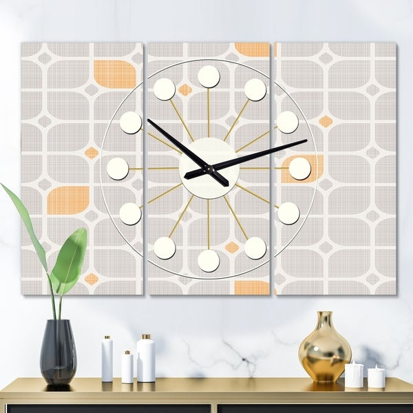 Designart 'Retro Geometrical Pattern II' Oversized Mid-Century wall clock - 3 Panels - 36 in. wide x 28 in. high - 3 Panels