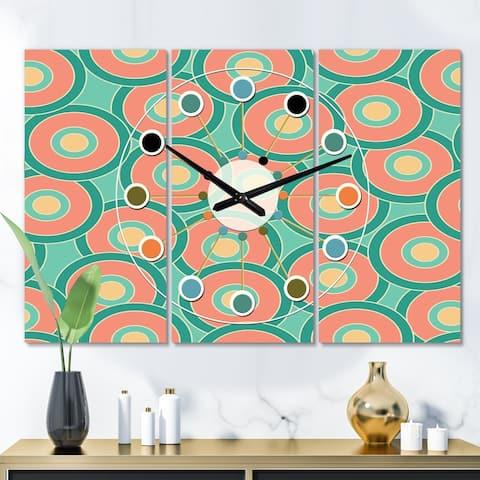 Designart 'Retro Circular Pattern VI' Oversized Mid-Century wall clock - 3 Panels - 36 in. wide x 28 in. high - 3 Panels