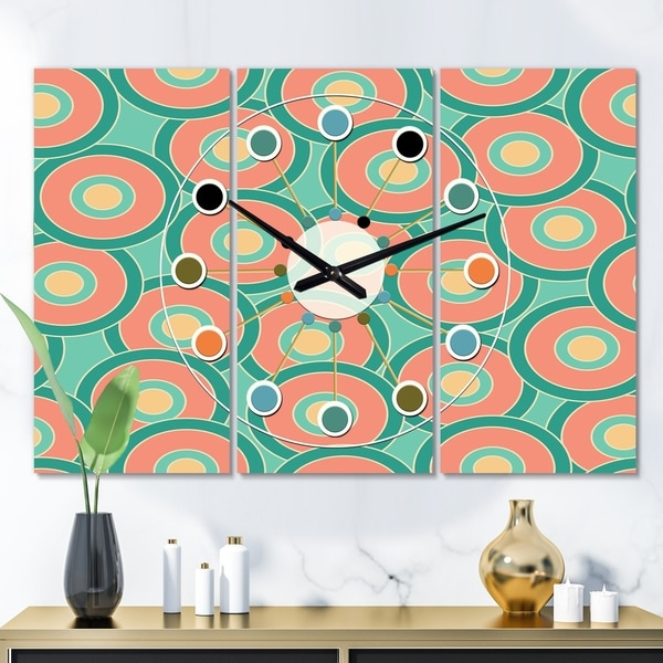 Designart 'Retro Circular Pattern VI' Oversized Mid-Century wall clock - 3 Panels - 36 in. wide x 28 in. high - 3 Panels