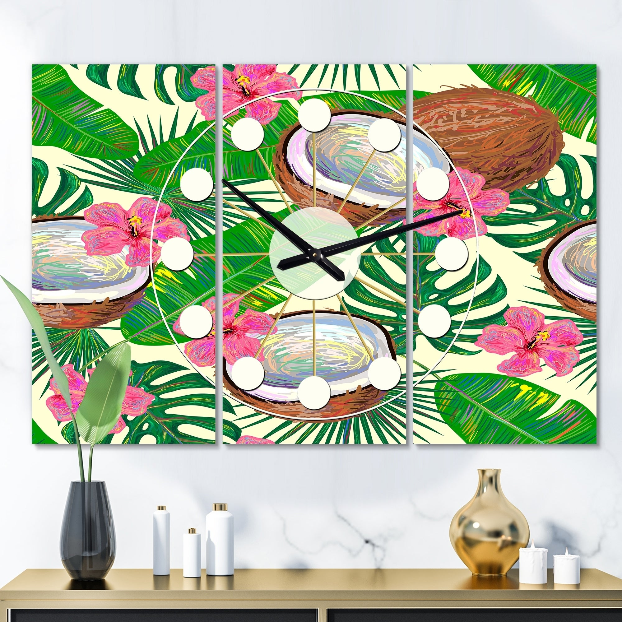 Designart Tropical Cooconut And Jungle Flowers Oversized Mid Century Wall Clock 3 Panels On Sale Overstock 28736005