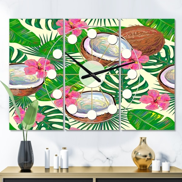 Designart 'Tropical Cooconut and Jungle Flowers' Oversized Mid-Century wall clock - 3 Panels. Opens flyout.