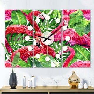 Designart 'Retro Tropical Pink Flamingo' Oversized Mid-Century wall clock - 3 Panels - 36 in. wide x 28 in. high - 3 Panels