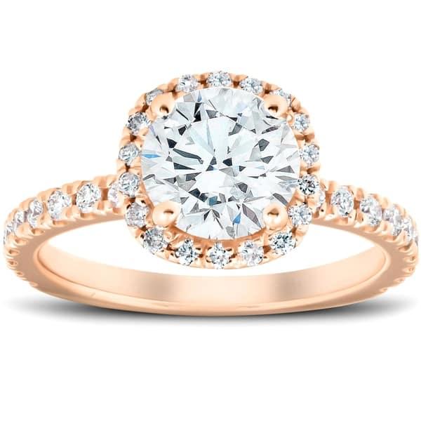 2 Ct Moissanite Diamond Cushion Halo Engagement Ring 14k Rose Gold Overstock 28736013