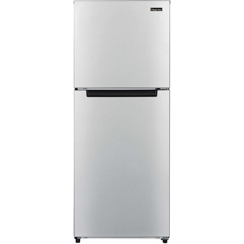 Magic Chef  Energy Star 10.1-Cu. Ft. Refrigerator with Top-Mount Freezer in Platinum Steel / Black