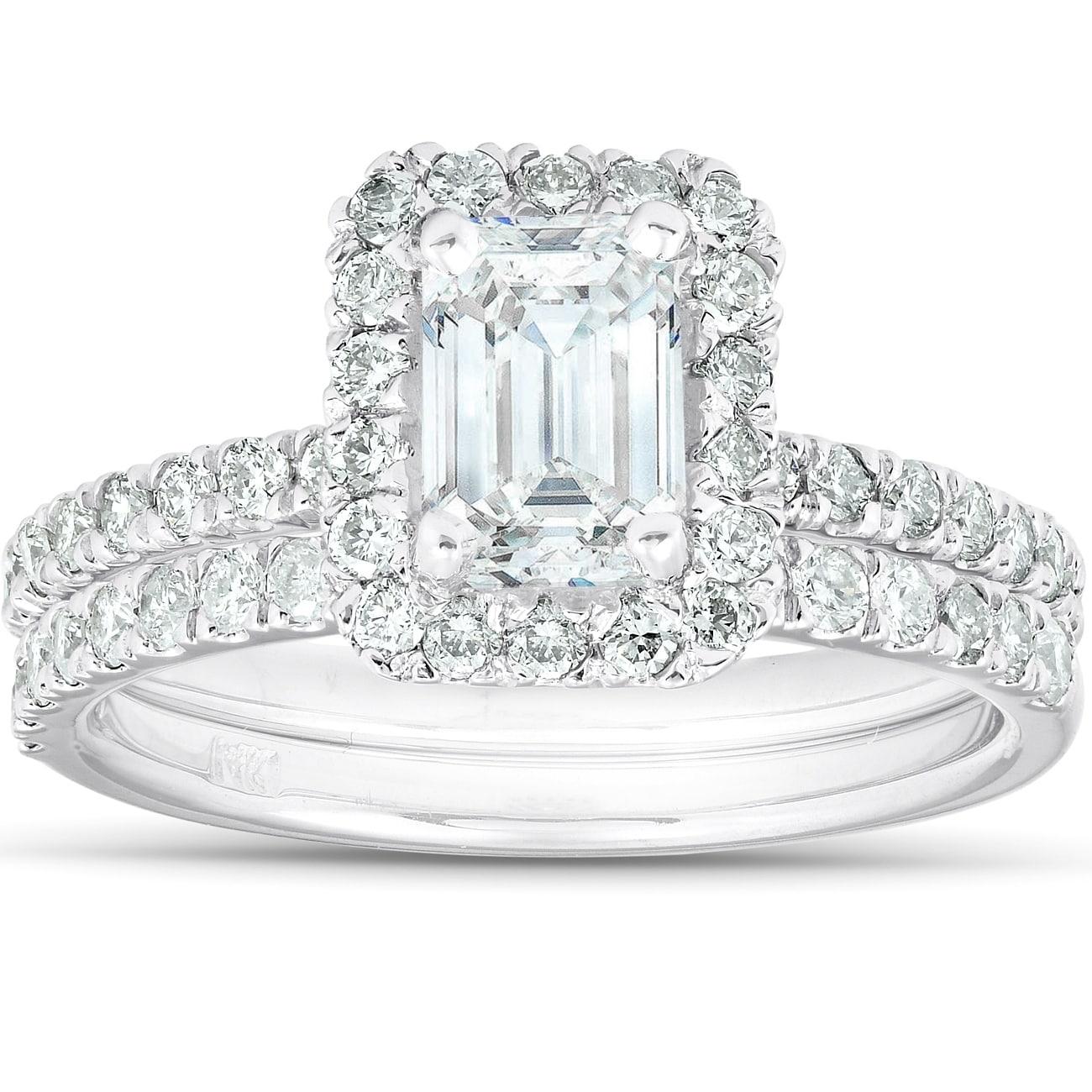 1 3 4 Ct Emerald Cut Diamond Halo Engagement Wedding Ring Set 14k White Gold Overstock 28736150