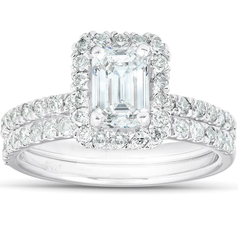 1 3/4 Ct Emerald Cut Diamond Halo Engagement Wedding Ring Set 14k White Gold