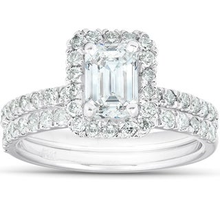 1 3/4 Ct Emerald Cut Diamond Halo Engagement Wedding Ring Set 14k White Gold