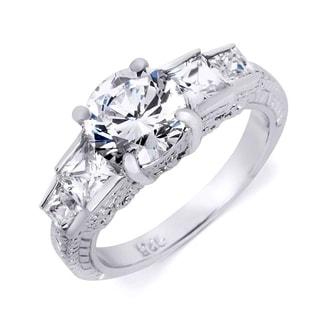 Vintage Inspired Sterling Silver 2 75 CT Engagement Ring Round Cut