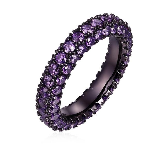 Black Rhodium & Italian-Cut Amethyst CZ 3 Row Eternity Ring