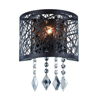 Elegant Lighting Finley 8-inch Wall Sconce with Matte Dark Brown Finish and Crystal (As Is Item)
