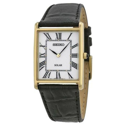 Seiko Men's SUP880 Solar Black Leather Watch