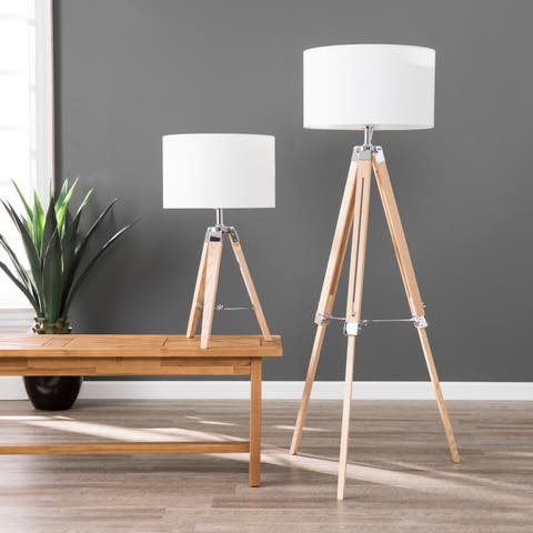 Carbon Loft Tarrington Industrial Natural Wood Lamp (Set of 2)