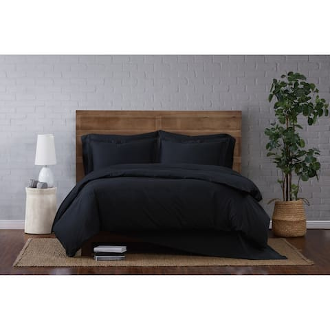 Brooklyn Loom Solid Cotton Percale Duvet Set