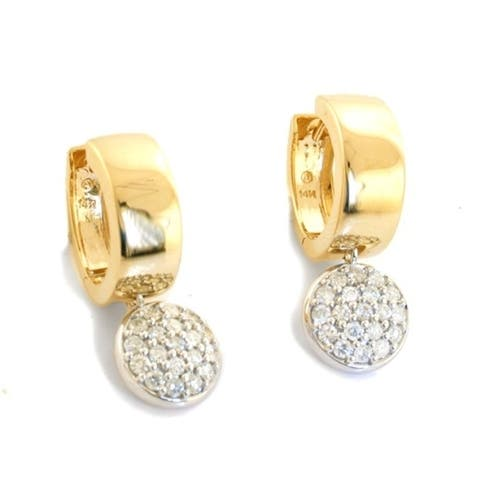 14K Yellow and White Gold 1 ct. TDW Diamonds Dangle Earrings by Beverly Hills Charm