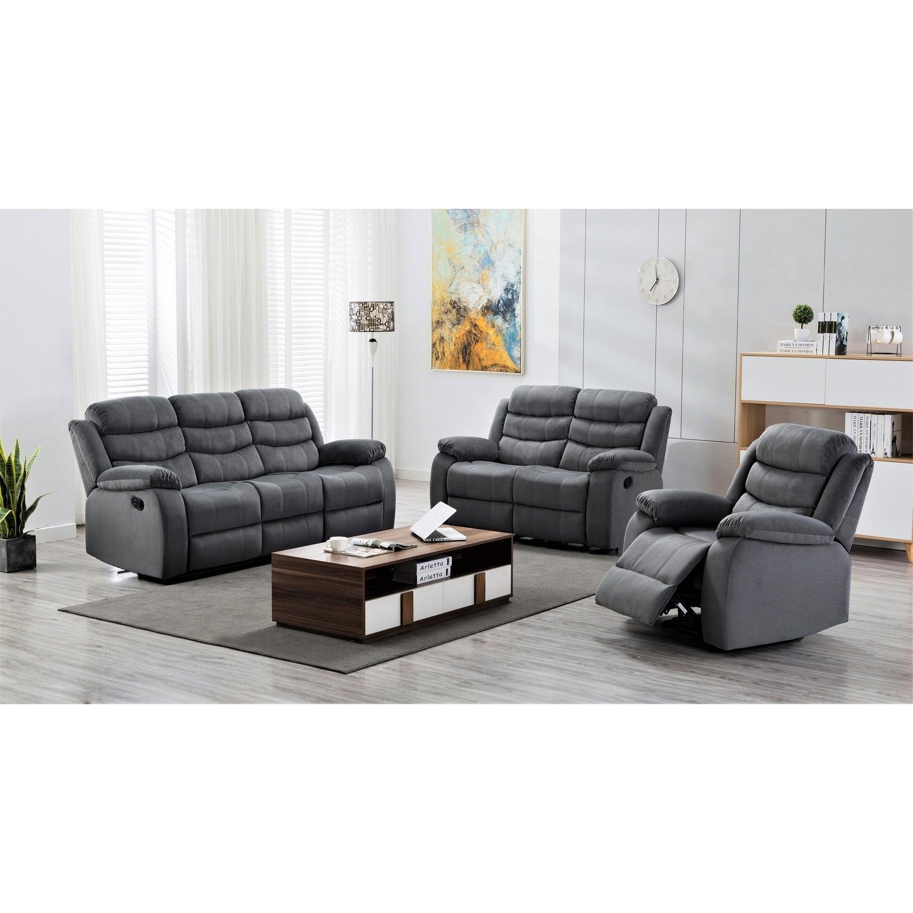 Terrific Medved 3 Piece Suede Reclining Living Room Set Evergreenethics Interior Chair Design Evergreenethicsorg