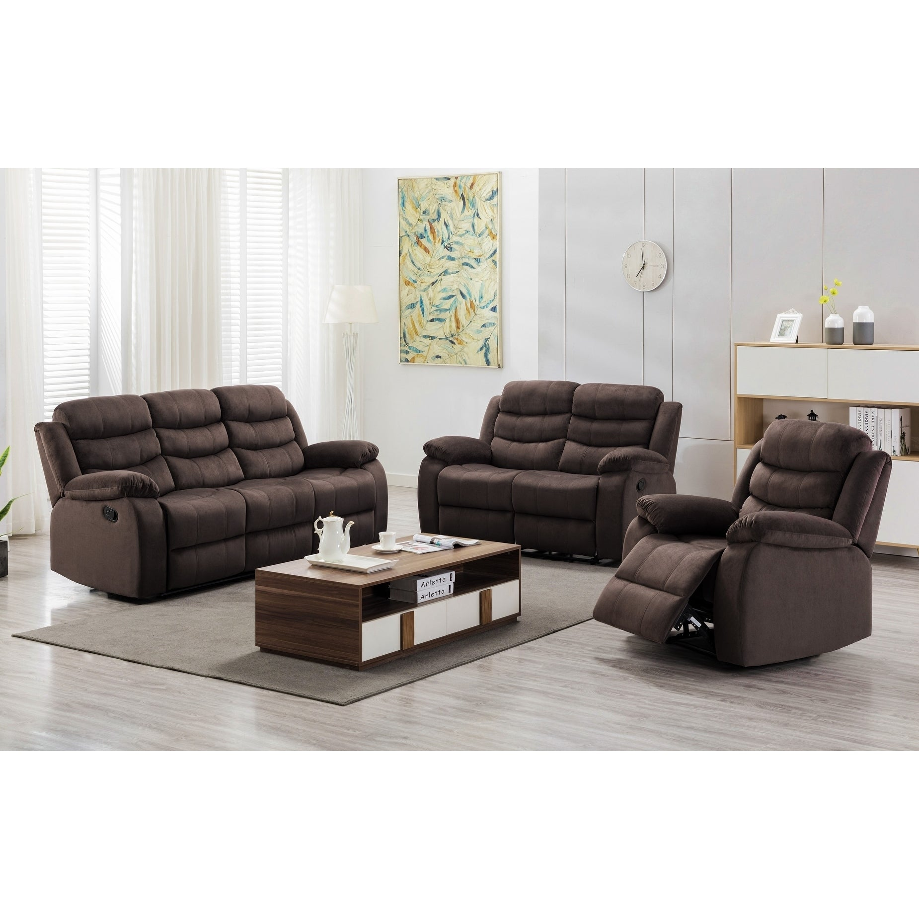 Miraculous Medved 3 Piece Suede Reclining Living Room Set Evergreenethics Interior Chair Design Evergreenethicsorg