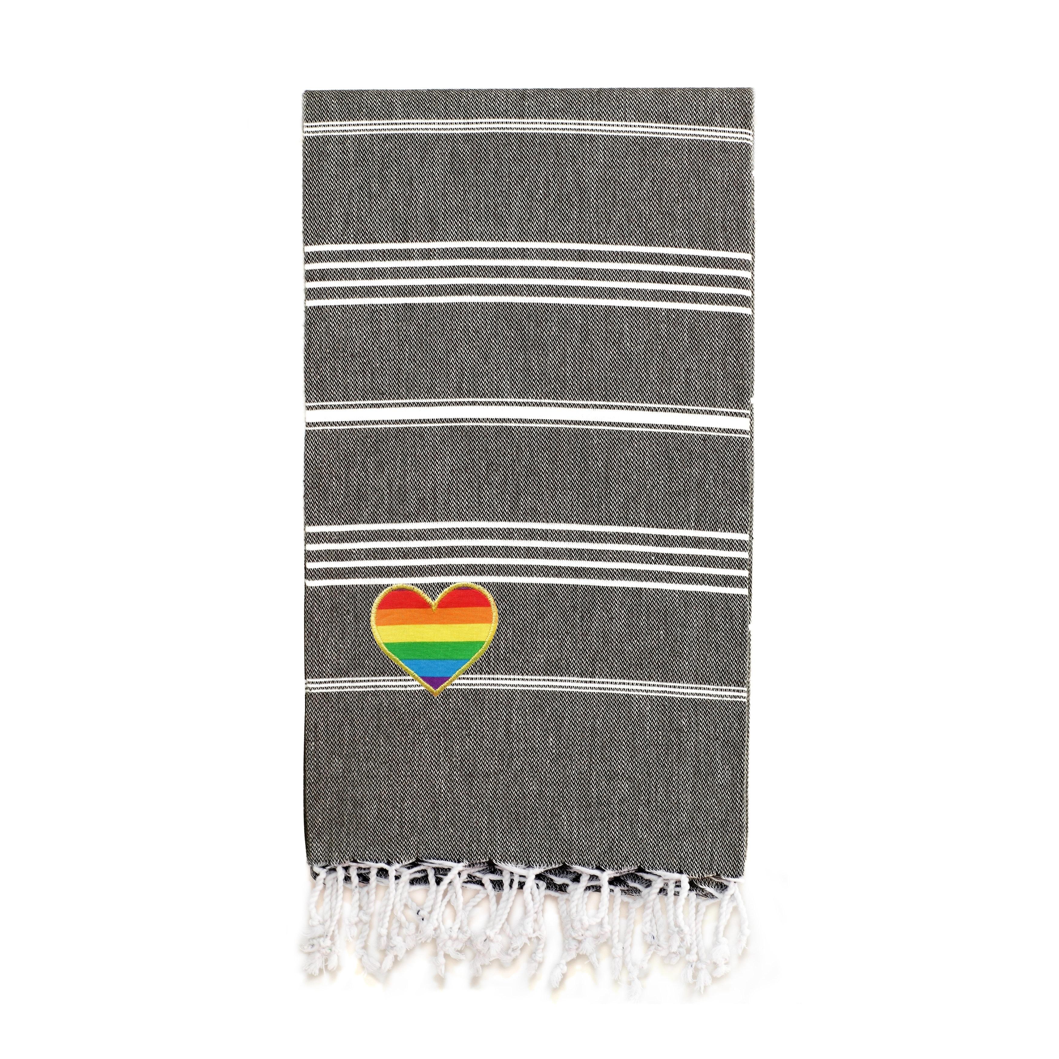 Authentic Hotel And Spa 100 Turkish Cotton Lucky Cheerful Rainbow Heart Pestemal Beach Towel Overstock 28737882