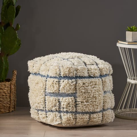 Allegra Boho Wool and Denim Pouf by Christopher Knight Home