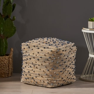 Coriander Boho Jute and Cotton Pouf by Christopher Knight Home